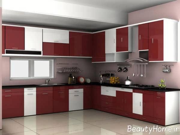 مدل کابینت دو رنگ و زیبا برای آشپزخانه