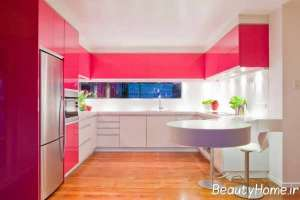 مدل کابینت مدرن و دو رنگ برای آشپزخانه