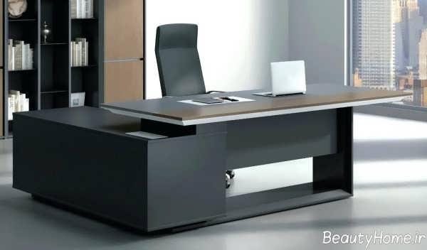 مدل میز شیک و رنگ تیره اداری