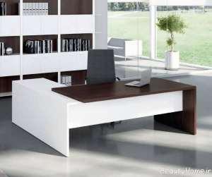 میز اداری سفید و قهوه ای