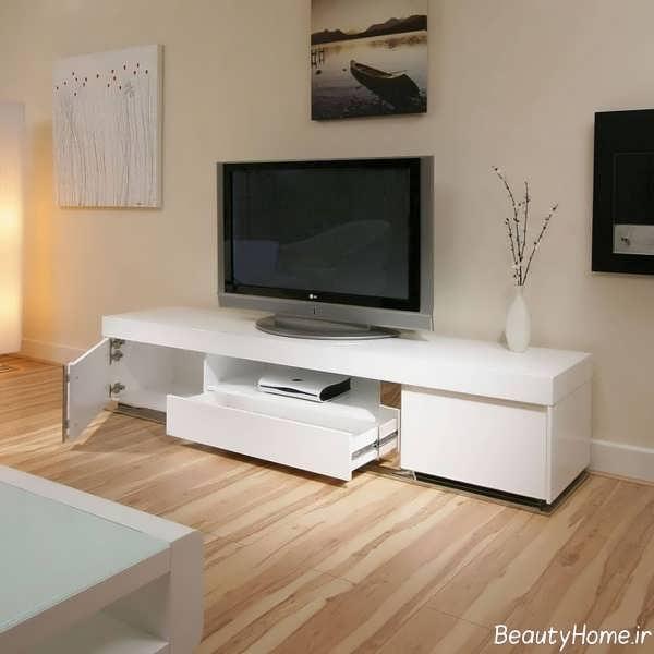 مدل میز تلویزیون سفید و زمینی