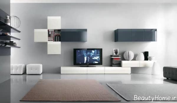 میز تلویزیون سفید و دیواری