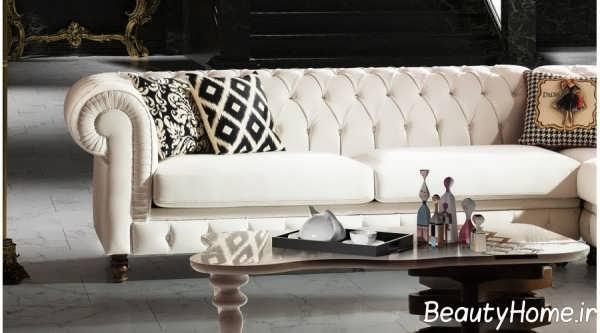 طراحی زیبای اتاق با مبل چستر