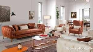 طراحی عالی اتاق نشیمن با مبل چستر
