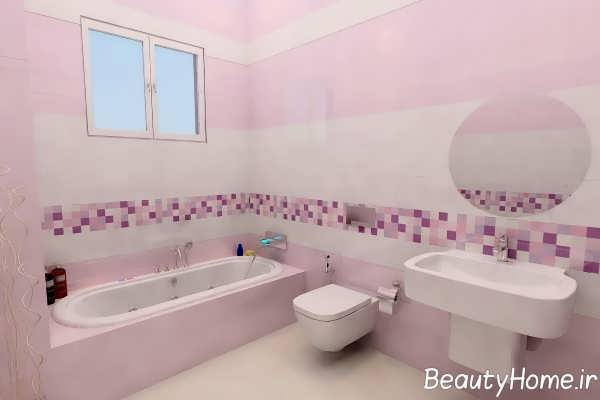 دکوراسیون زیبای حمام با تم بنفش کم رنگ