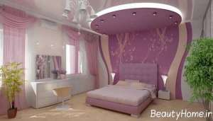 اتاق خواب لاکچری با تم بنفش کم رنگ