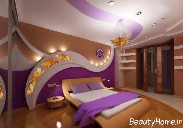 اتاق خواب زیبا و جذاب با تم بنفش