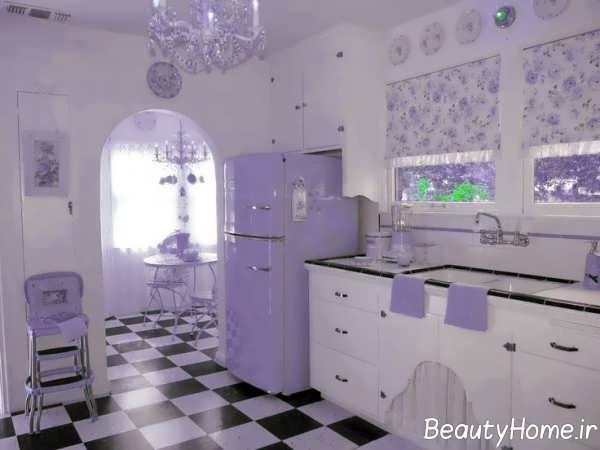 طراحی آشپزخانه با تم بنفش