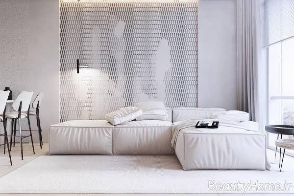 رنگ سفید در اتاق پذیرایی