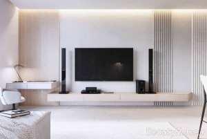 دکوراسیون اتاق پذیرایی مینیمال سفید