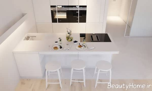 آشپزخانه مینیمال سفید