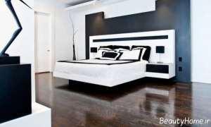 دکوراسیون داخلی سفید و مشکی اتاق خواب