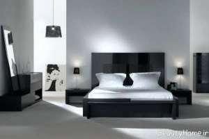 دکوراسیون سفید و مشکی اتاق خواب