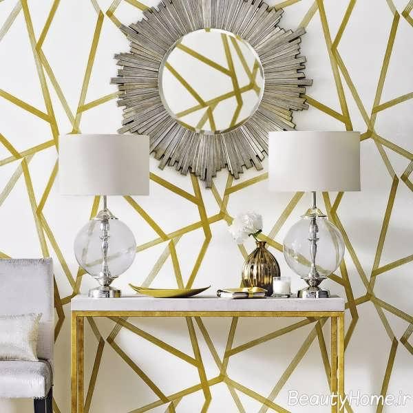 کاغذ دیواری سفید و طلایی
