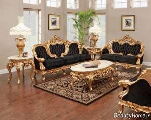 مدل مبل مشکی و طلایی