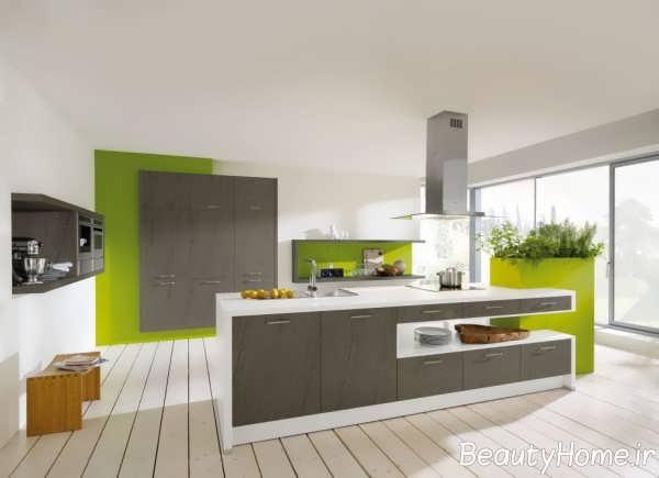 دکوراسیون سبز و خاکستری آشپزخانه
