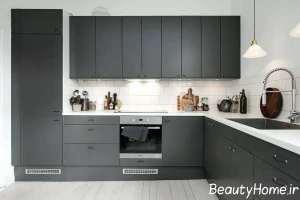 دکوراسیون آشپزخانه خاکستری تیره