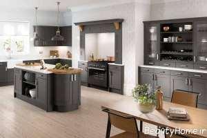 دکوراسیون آشپزخانه خاکستری بزرگ