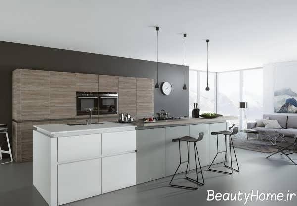 دکوراسیون سفید و خاکستری آشپزخانه