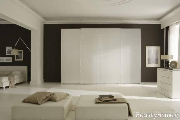 کمد دیواری سفید و ساده