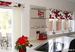 مدل پرده طرح دار برای آشپزخانه