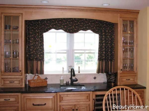 مدل پرده آشپزخانه 2019 رنگ تیره و طرح دار