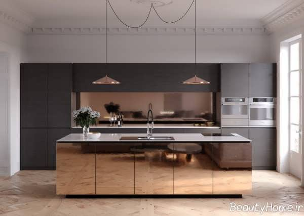 دکوراسیون آشپزخانه مسی و خاکستری