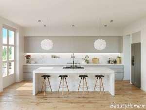 دکوراسیون داخلی سفید و خاکستری آشپزخانه