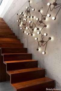 نورپردازی دیوار راه پله