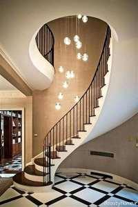 نورپردازی پله با لوستر