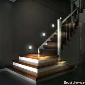 طراحی زیبا و کاربردی نورپردازی برای راه پله