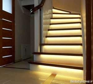 طراحی زیبا و کاربردی نور مخفی در راه پله