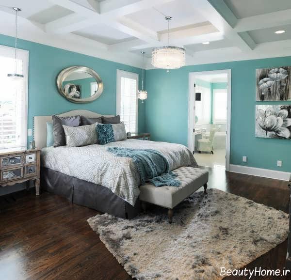 دکوراسیون آبی و سفید اتاق خواب