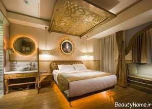 دکوراسیون سفید و طلایی اتاق خواب