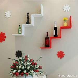مدل شلف دیواری سفید و قرمز