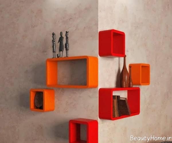 مدل شلف دیواری قرمز و نارنجی