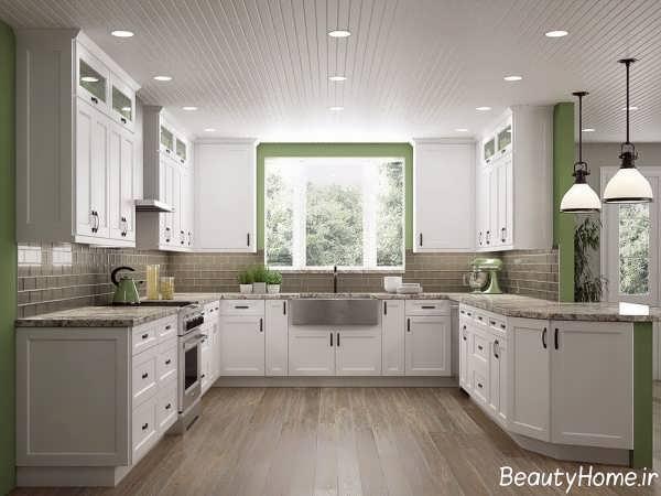 مدل کابینت زیبا و سفید آشپزخانه