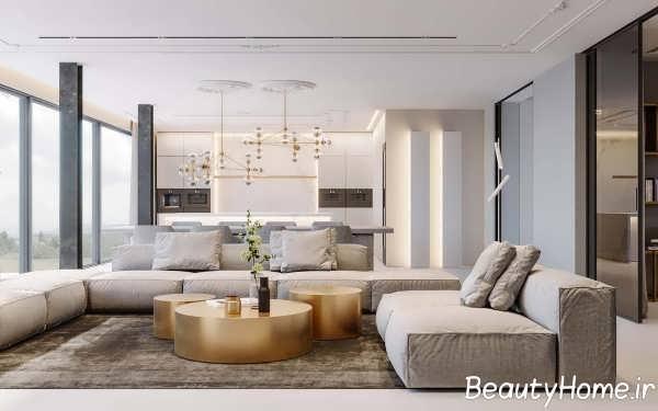 طراحی اتاق پذیرایی مدرن با مس