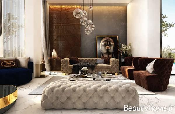طراحی زیبا و متفاوت اتاق پذیرایی