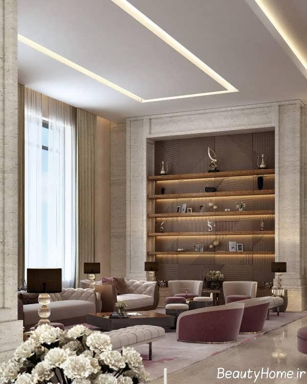 دیزاین نوری زیبا در اتاق نشیمن