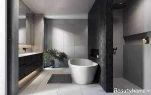 دکوراسیون حمام با رنگ تیره