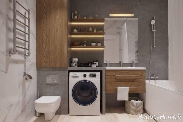 طراحی دکوراسیون حمام با چوب