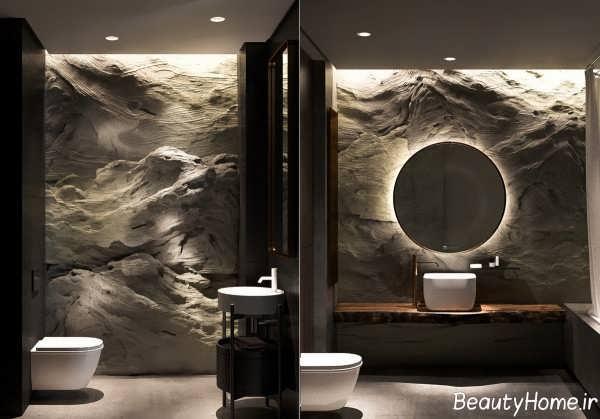 طراحی دکوراسیون حمام با رنگ تیره