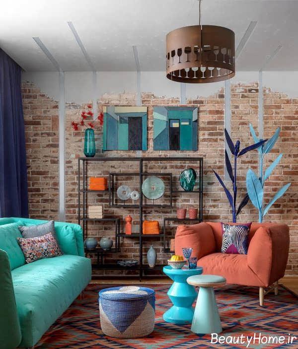 اتاق پذیرایی با رنگ های شاد