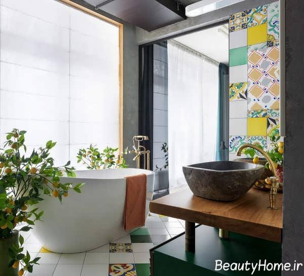 دیزاین حمام رنگی