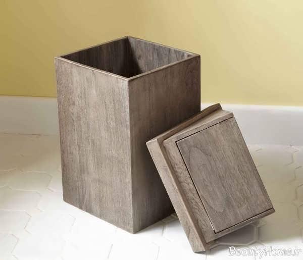 سطل چوبی زباله شیک و قهوه ای