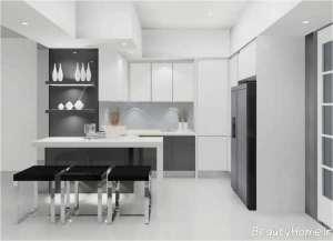 دکوراسیون آشپزخانه سفید و خاکستری