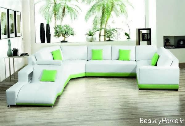 مدل مبل راحتی سفید و سبز 2019