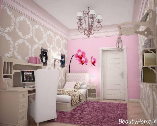 دکوراسیون داخلی اتاق خواب صورتی و بنفش