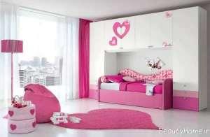 دکوراسیون صورتی و سفید اتاق خواب دخترانه